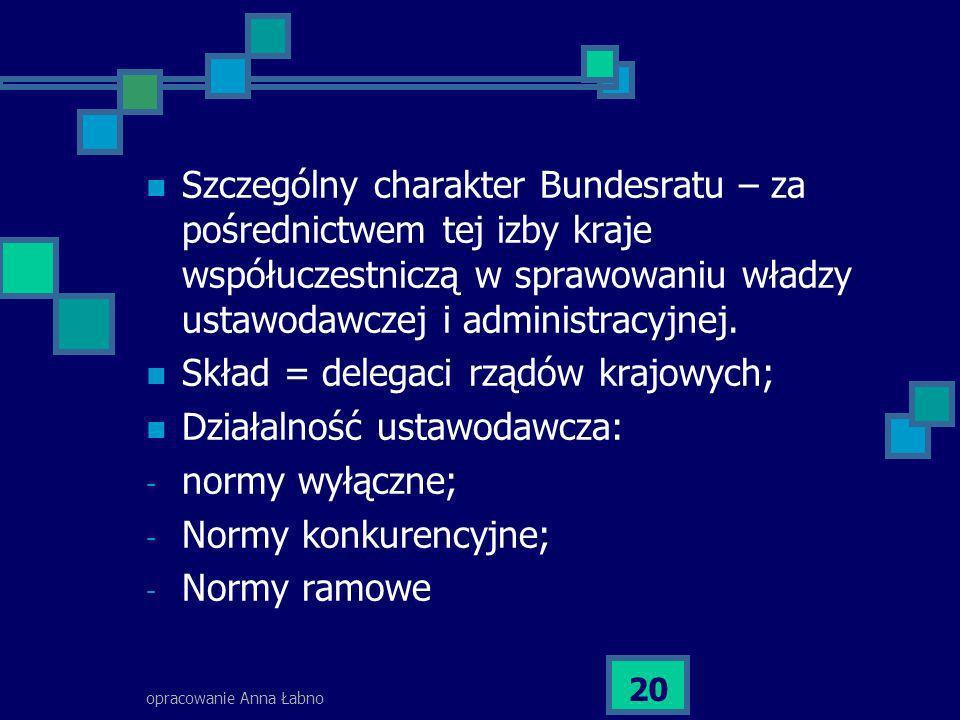 opracowanie Anna Łabno 20 Szczególny charakter Bundesratu – za pośrednictwem tej izby kraje współuczestniczą w sprawowaniu władzy ustawodawczej i admi