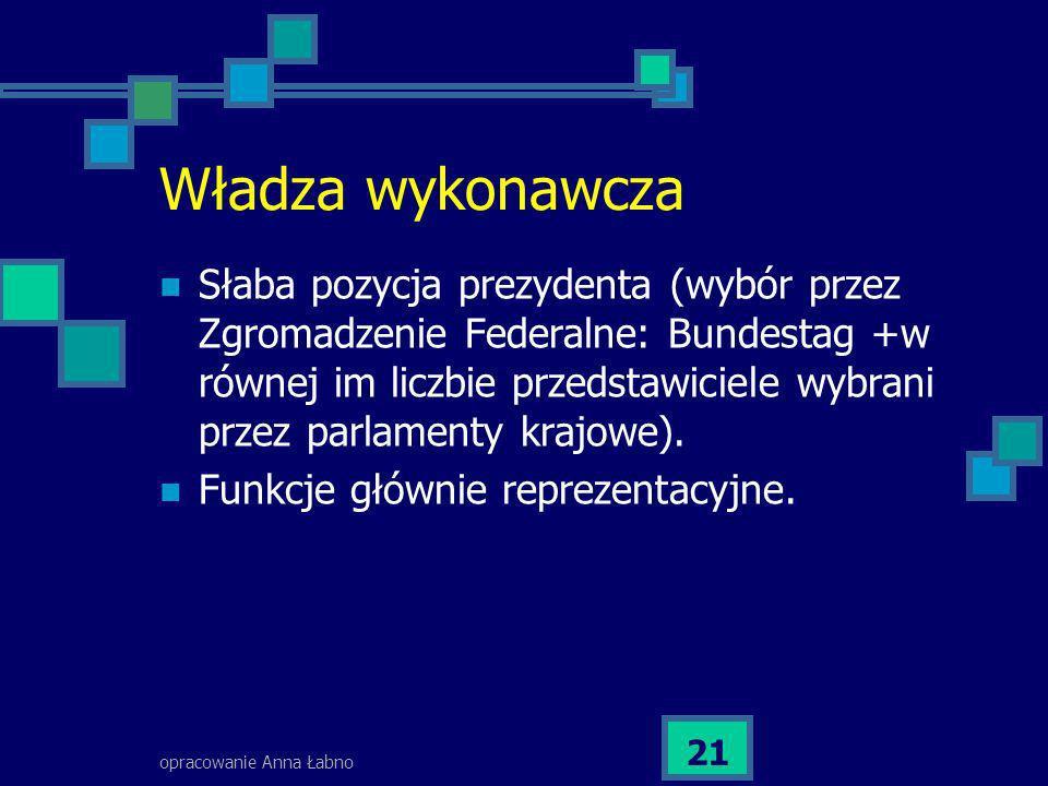 opracowanie Anna Łabno 21 Władza wykonawcza Słaba pozycja prezydenta (wybór przez Zgromadzenie Federalne: Bundestag +w równej im liczbie przedstawicie