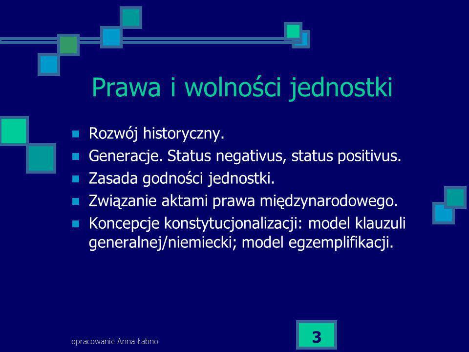 opracowanie Anna Łabno 34 Ustawa (możliwe dwa znaczenia) Znaczenie materialne: akt, który zawiera normy o charakterze generalnym i abstrakcyjnym (nie bierze się pod uwagę trybu uchwalenia).