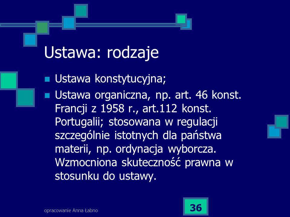 opracowanie Anna Łabno 36 Ustawa: rodzaje Ustawa konstytucyjna; Ustawa organiczna, np. art. 46 konst. Francji z 1958 r., art.112 konst. Portugalii; st