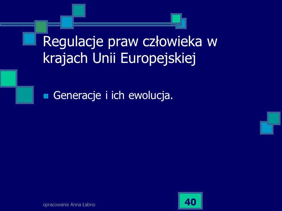 opracowanie Anna Łabno 40 Regulacje praw człowieka w krajach Unii Europejskiej Generacje i ich ewolucja.