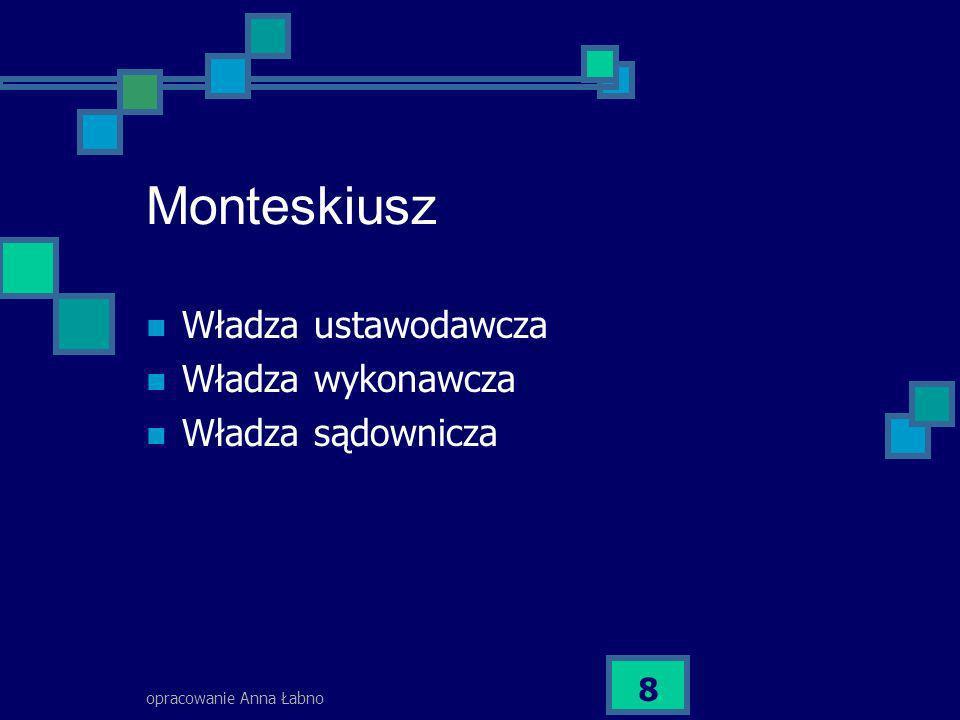 opracowanie Anna Łabno 9 Systemy ustrojowe ( zasada trójpodziału władzy) Parlamentarno – gabinetowy Prezydencki Mieszany (w ujęciu współczesnym).