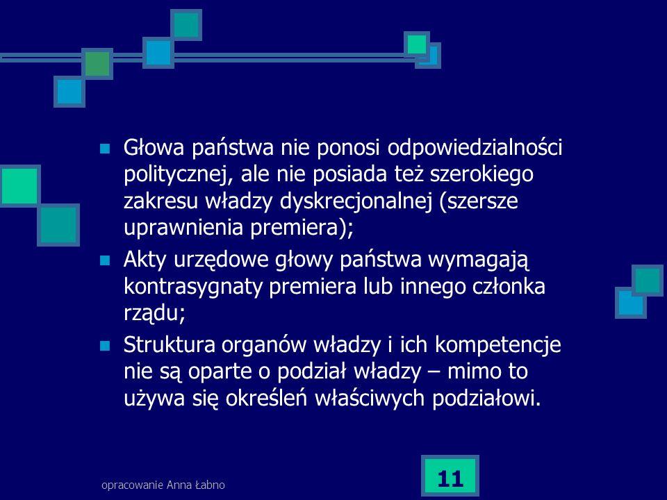 opracowanie Anna Łabno 11 Głowa państwa nie ponosi odpowiedzialności politycznej, ale nie posiada też szerokiego zakresu władzy dyskrecjonalnej (szers