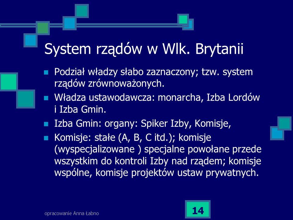opracowanie Anna Łabno 14 System rządów w Wlk. Brytanii Podział władzy słabo zaznaczony; tzw. system rządów zrównoważonych. Władza ustawodawcza: monar