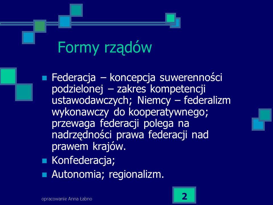 opracowanie Anna Łabno 2 Formy rządów Federacja – koncepcja suwerenności podzielonej – zakres kompetencji ustawodawczych; Niemcy – federalizm wykonawczy do kooperatywnego; przewaga federacji polega na nadrzędności prawa federacji nad prawem krajów.