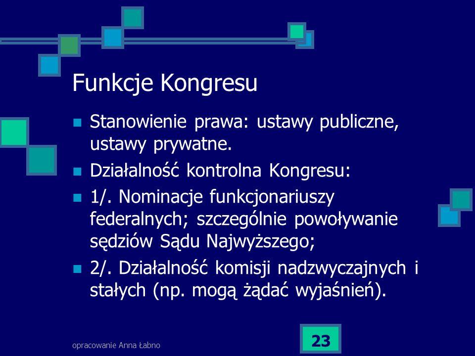 opracowanie Anna Łabno 23 Funkcje Kongresu Stanowienie prawa: ustawy publiczne, ustawy prywatne.