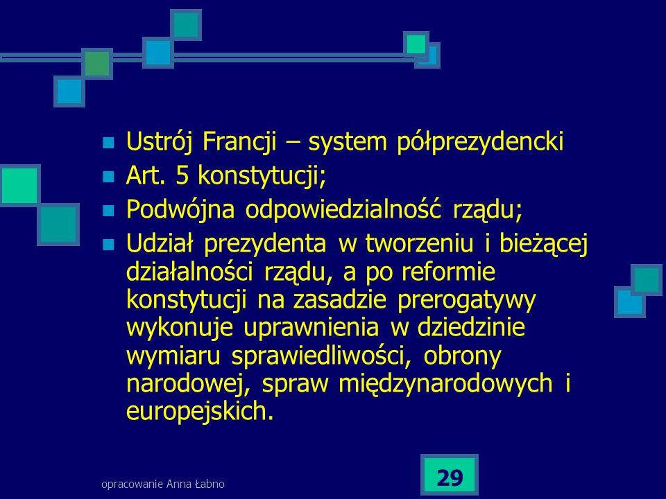 opracowanie Anna Łabno 29 Ustrój Francji – system półprezydencki Art.