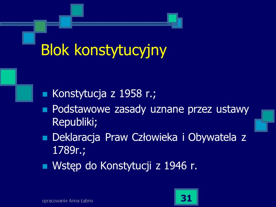 opracowanie Anna Łabno 31 Blok konstytucyjny Konstytucja z 1958 r.; Podstawowe zasady uznane przez ustawy Republiki; Deklaracja Praw Człowieka i Obywatela z 1789r.; Wstęp do Konstytucji z 1946 r.