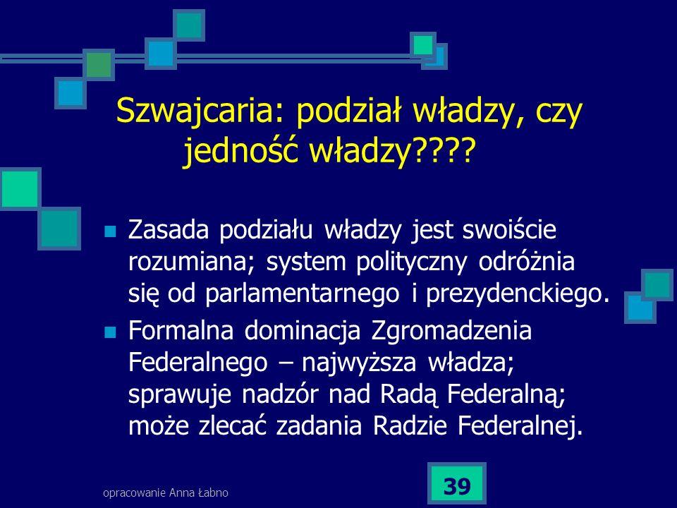 opracowanie Anna Łabno 39 Szwajcaria: podział władzy, czy jedność władzy???? Zasada podziału władzy jest swoiście rozumiana; system polityczny odróżni