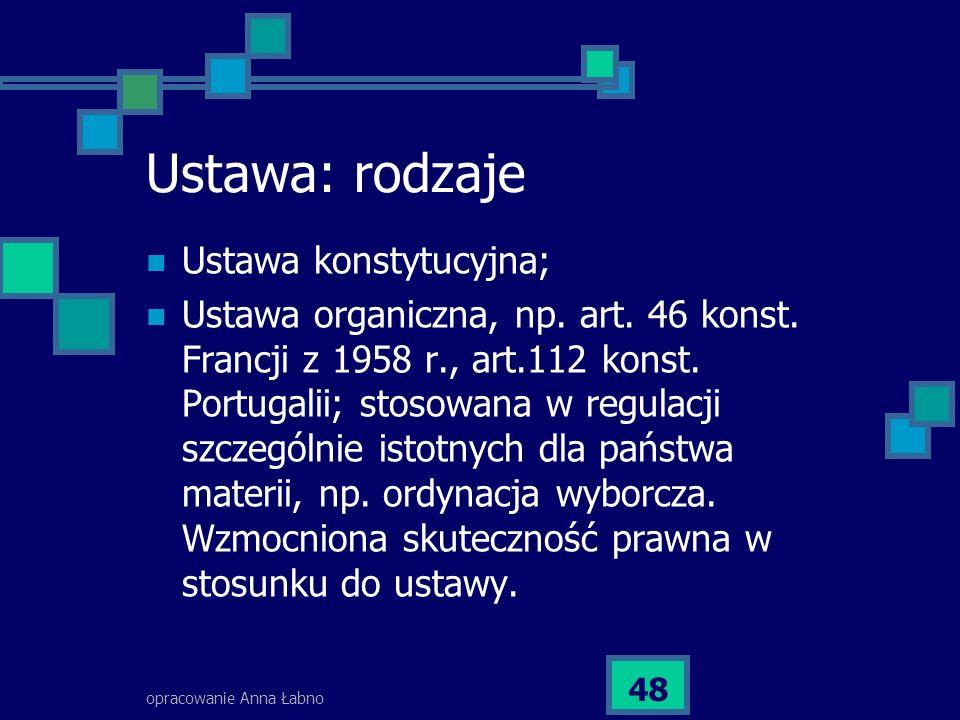 opracowanie Anna Łabno 48 Ustawa: rodzaje Ustawa konstytucyjna; Ustawa organiczna, np. art. 46 konst. Francji z 1958 r., art.112 konst. Portugalii; st