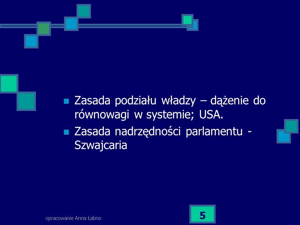 opracowanie Anna Łabno 5 Zasada podziału władzy – dążenie do równowagi w systemie; USA. Zasada nadrzędności parlamentu - Szwajcaria