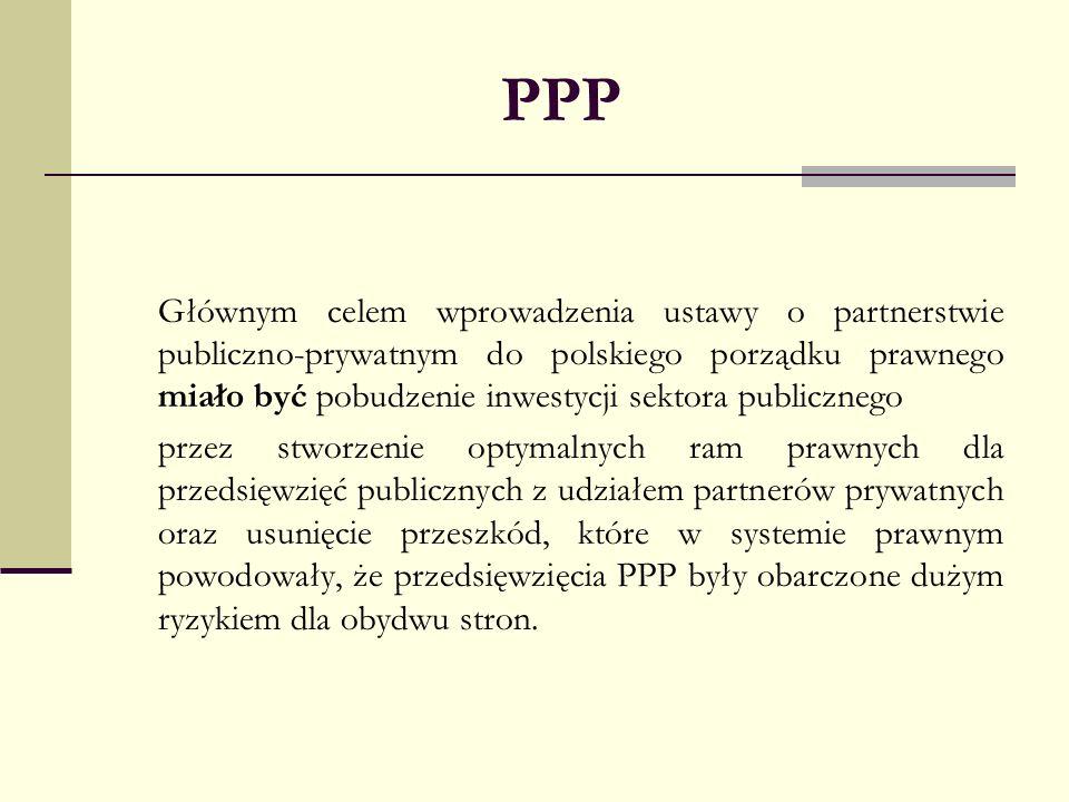 PPP Głównym celem wprowadzenia ustawy o partnerstwie publiczno-prywatnym do polskiego porządku prawnego miało być pobudzenie inwestycji sektora public