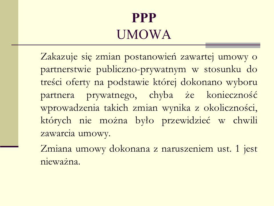 PPP UMOWA Zakazuje się zmian postanowień zawartej umowy o partnerstwie publiczno-prywatnym w stosunku do treści oferty na podstawie której dokonano wy