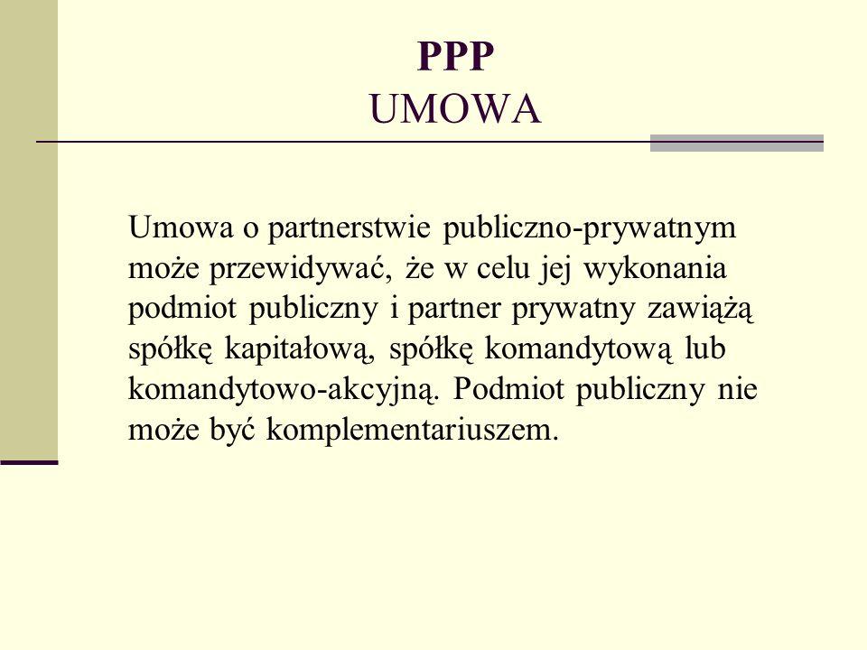 PPP UMOWA Umowa o partnerstwie publiczno-prywatnym może przewidywać, że w celu jej wykonania podmiot publiczny i partner prywatny zawiążą spółkę kapit