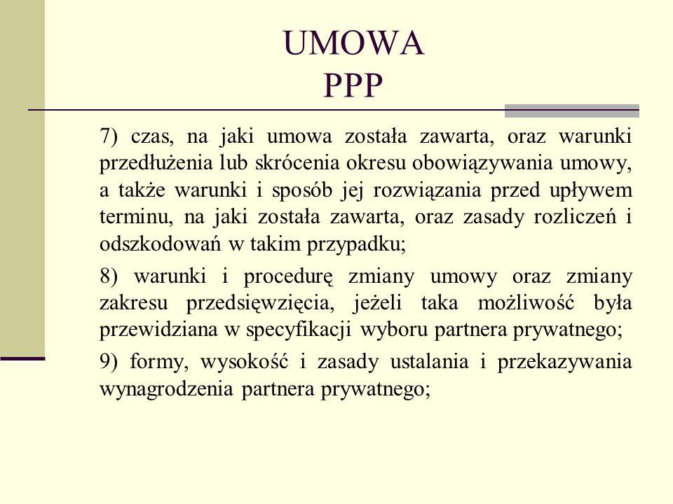 UMOWA PPP 7) czas, na jaki umowa została zawarta, oraz warunki przedłużenia lub skrócenia okresu obowiązywania umowy, a także warunki i sposób jej roz