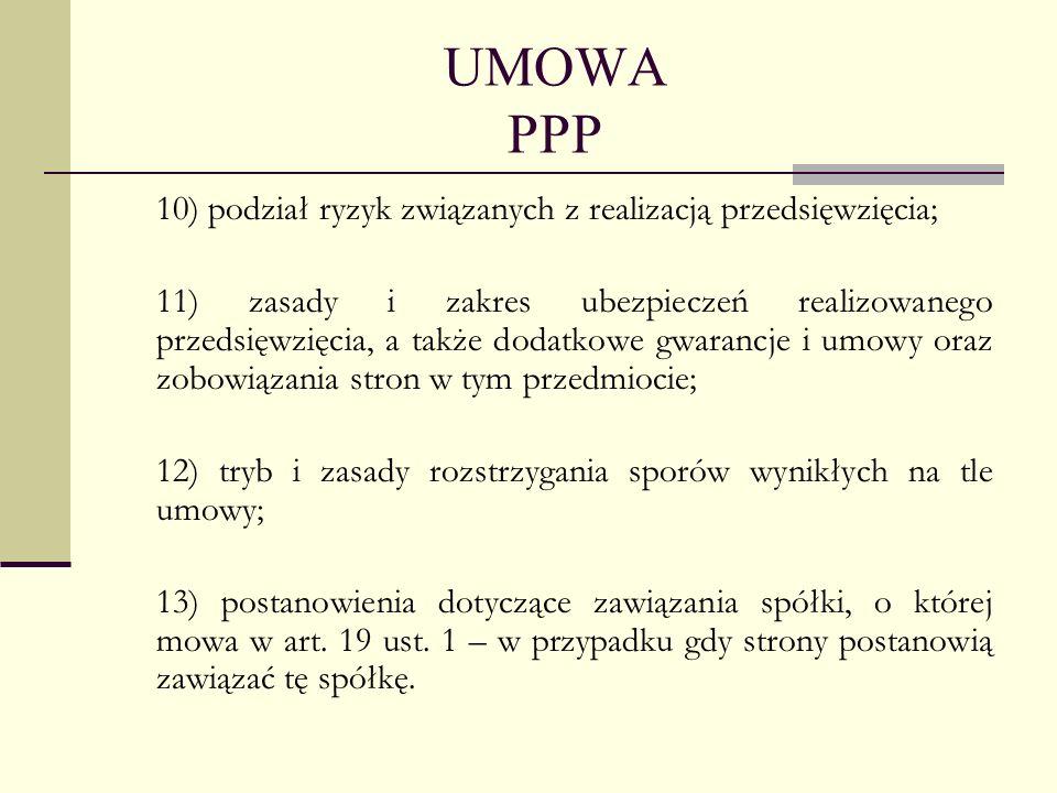 UMOWA PPP 10) podział ryzyk związanych z realizacją przedsięwzięcia; 11) zasady i zakres ubezpieczeń realizowanego przedsięwzięcia, a także dodatkowe