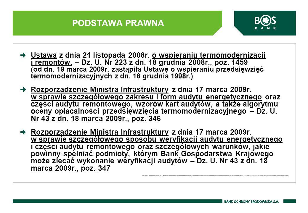 Ustawa z dnia 21 listopada 2008r.o wspieraniu termomodernizacji i remontów.