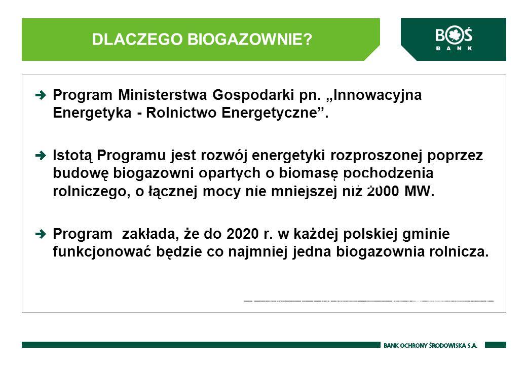 Finansowanie biogazowni przez BOŚ S.A.Program Ministerstwa Gospodarki pn.