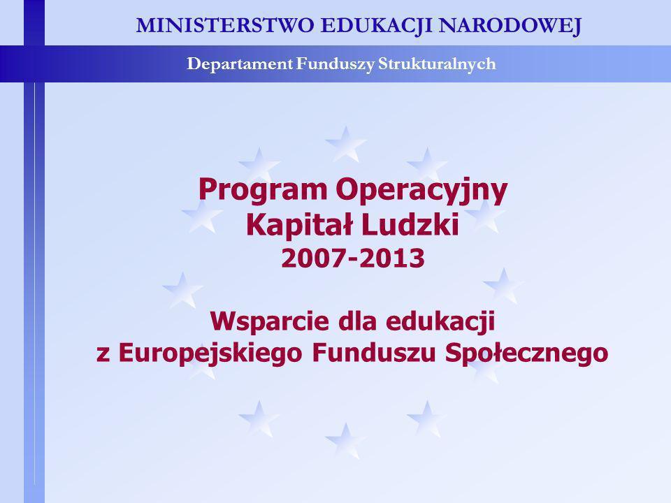 MINISTERSTWO EDUKACJI NARODOWEJ Departament Funduszy Strukturalnych Program Operacyjny Kapitał Ludzki 2007-2013 Wsparcie dla edukacji z Europejskiego Funduszu Społecznego