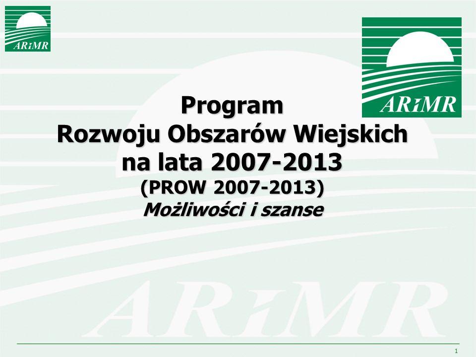 2 II filar Rozwój obszarów wiejskich (dawny II filar WPR oraz część polityki strukturalnej dla obszarów wiejskich i rolnictwa) Europejski Fundusz Rolny na rzecz Rozwoju Obszarów Wiejskich (EFRROW) II filar Rozwój obszarów wiejskich (dawny II filar WPR oraz część polityki strukturalnej dla obszarów wiejskich i rolnictwa) Europejski Fundusz Rolny na rzecz Rozwoju Obszarów Wiejskich (EFRROW) I filar Płatności bezpośrednie Płatności rynkowe Europejski Fundusz Gwarancji Rolnej (EFGR) I filar Płatności bezpośrednie Płatności rynkowe Europejski Fundusz Gwarancji Rolnej (EFGR) WPR Wspólna Polityka Rolna UE w okresie 2007 -2013