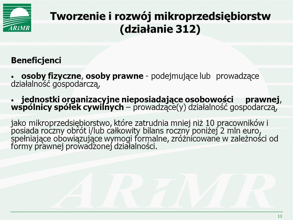 13 Tworzenie i rozwój mikroprzedsiębiorstw (działanie 312) Beneficjenci osoby fizyczne, osoby prawne - podejmujące lub prowadzące działalność gospodar