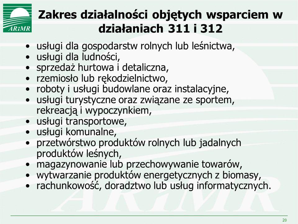 20 Zakres działalności objętych wsparciem w działaniach 311 i 312 usługi dla gospodarstw rolnych lub leśnictwa, usługi dla ludności, sprzedaż hurtowa