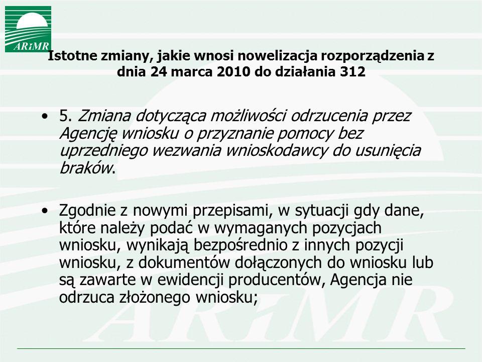 Istotne zmiany, jakie wnosi nowelizacja rozporządzenia z dnia 24 marca 2010 do działania 312 5. Zmiana dotycząca możliwości odrzucenia przez Agencję w