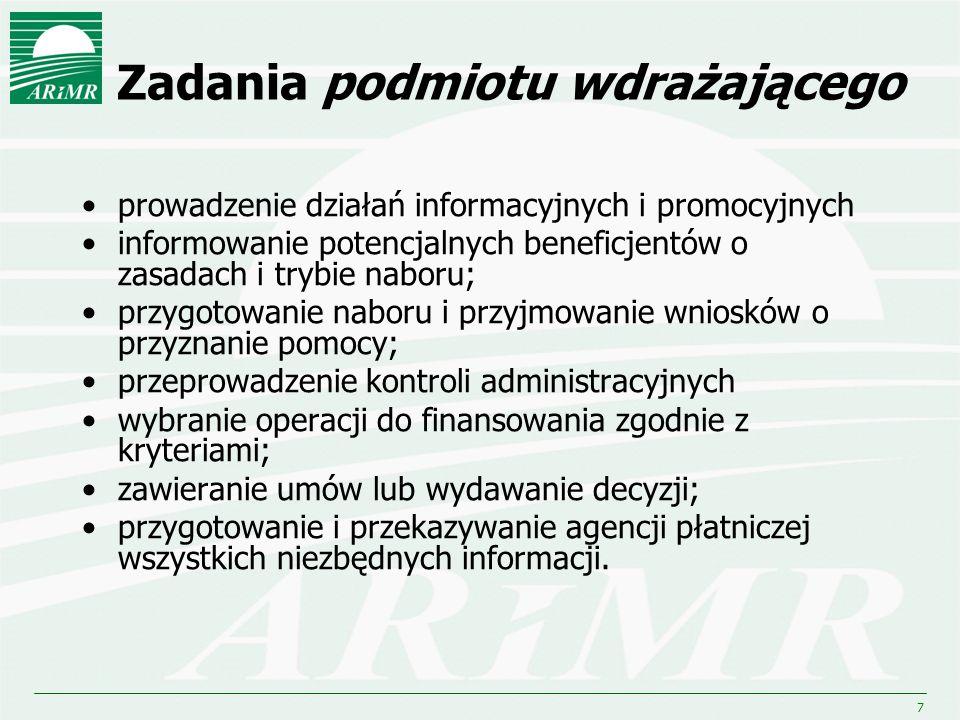 7 Zadania podmiotu wdrażającego prowadzenie działań informacyjnych i promocyjnych informowanie potencjalnych beneficjentów o zasadach i trybie naboru;