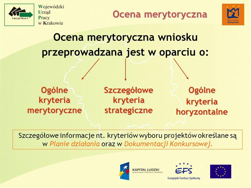 Ocena merytoryczna Ocena merytoryczna wniosku przeprowadzana jest w oparciu o: Ogólne kryteria merytoryczne Szczegółowe kryteria strategiczne Szczegółowe informacje nt.