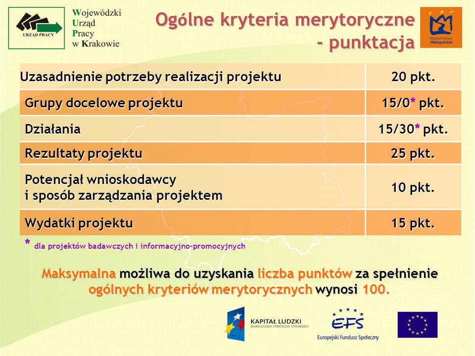 Og ó lne kryteria merytoryczne - punktacja Uzasadnienie potrzeby realizacji projektu 20 pkt.