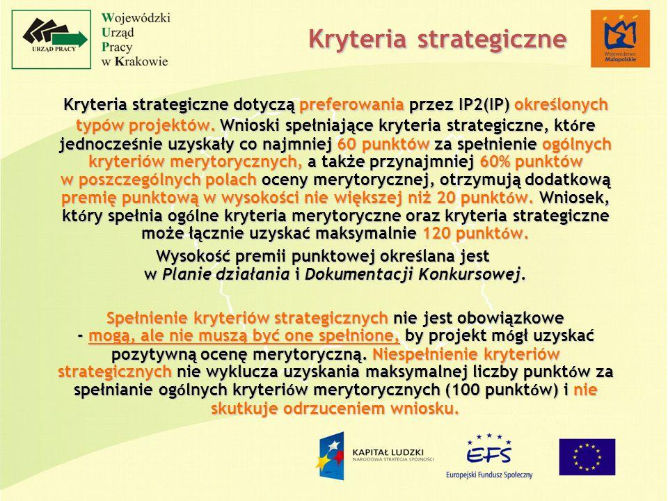 Kryteria strategiczne Kryteria strategiczne dotyczą preferowania przez IP2(IP) określonych typów projektów.