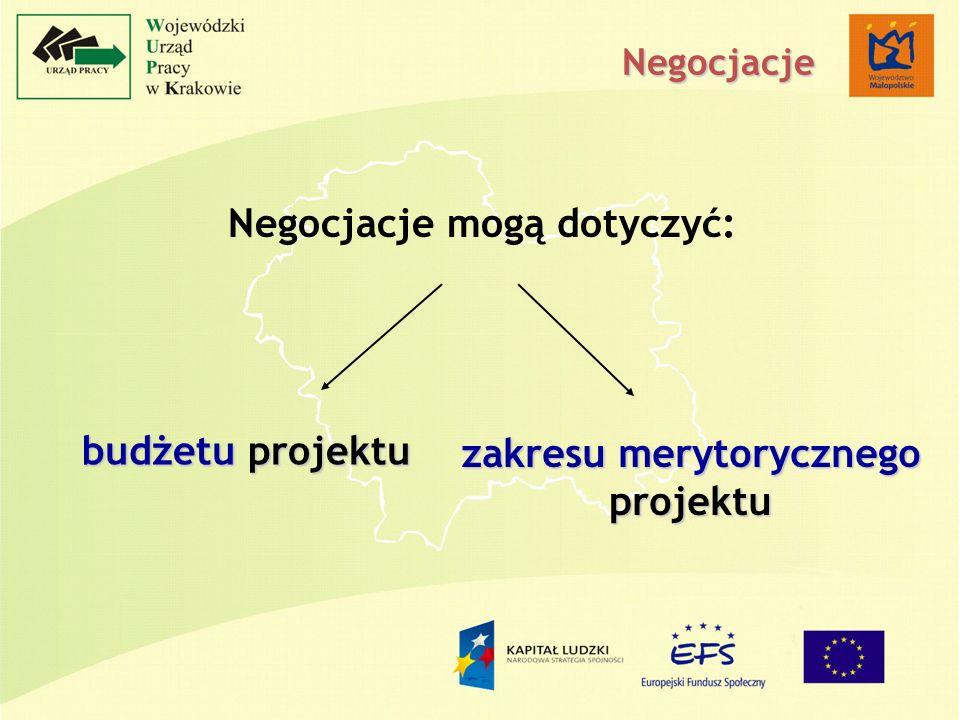 Negocjacje mogą dotyczyć: budżetu projektu zakresu merytorycznego projektu Negocjacje
