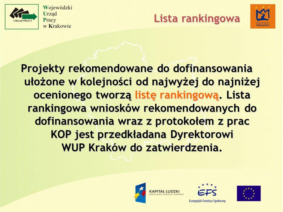 Projekty rekomendowane do dofinansowania ułożone w kolejności od najwyżej do najniżej ocenionego tworzą listę rankingową.