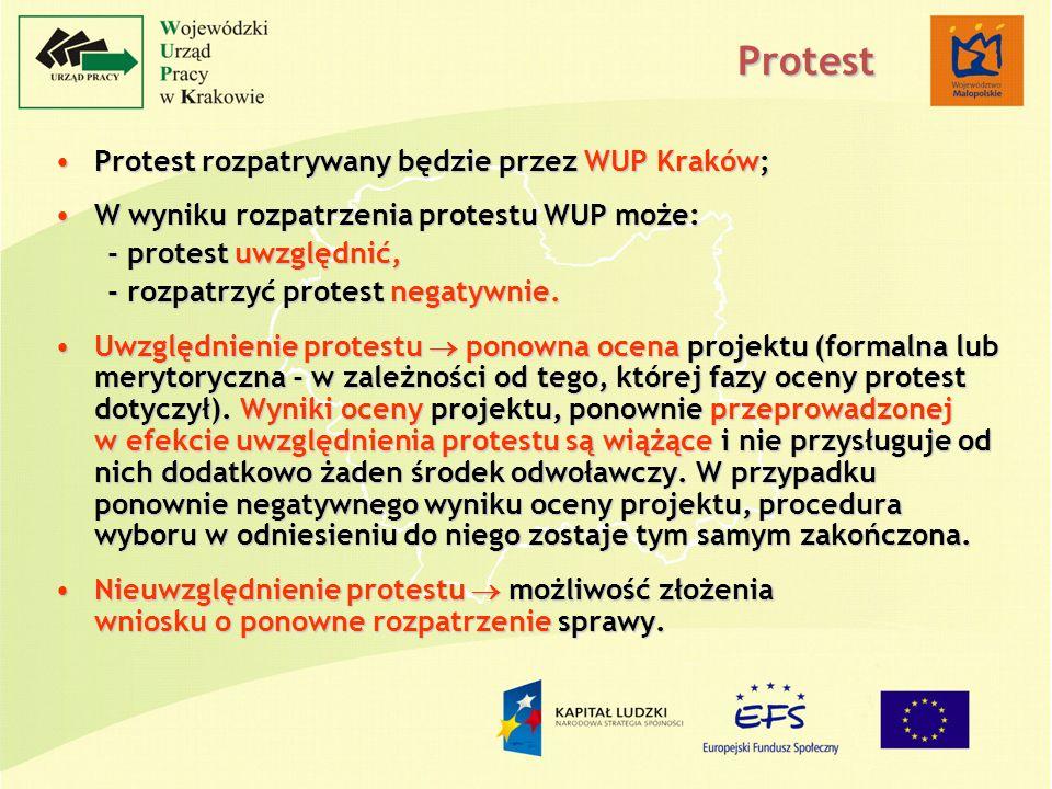 Protest rozpatrywany będzie przez WUP Kraków;Protest rozpatrywany będzie przez WUP Kraków; W wyniku rozpatrzenia protestu WUP może:W wyniku rozpatrzenia protestu WUP może: - protest uwzględnić, - rozpatrzyć protest negatywnie.