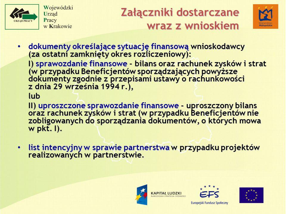 Załączniki dostarczane wraz z wnioskiem dokumenty określające sytuację finansową wnioskodawcy (za ostatni zamknięty okres rozliczeniowy): dokumenty określające sytuację finansową wnioskodawcy (za ostatni zamknięty okres rozliczeniowy): I) sprawozdanie finansowe - bilans oraz rachunek zysków i strat (w przypadku Beneficjentów sporządzających powyższe dokumenty zgodnie z przepisami ustawy o rachunkowości z dnia 29 września 1994 r.), lub II) uproszczone sprawozdanie finansowe - uproszczony bilans oraz rachunek zysków i strat (w przypadku Beneficjentów nie zobligowanych do sporządzania dokumentów, o których mowa w pkt.