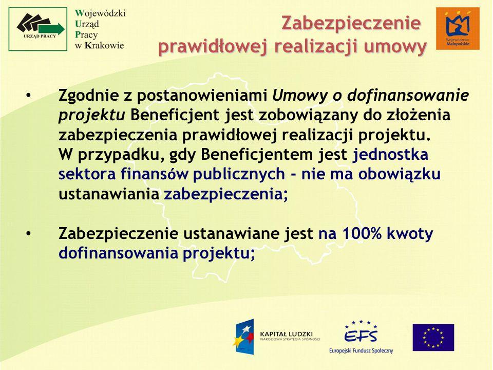 Zgodnie z postanowieniami Umowy o dofinansowanie projektu Beneficjent jest zobowiązany do złożenia zabezpieczenia prawidłowej realizacji projektu.