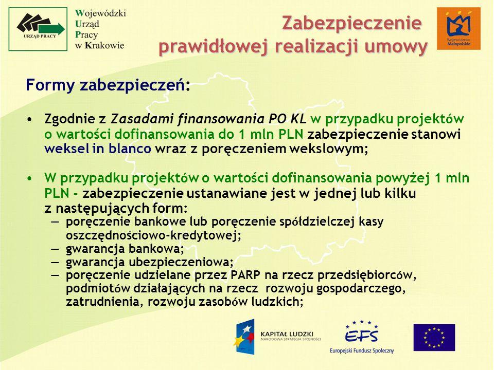 Formy zabezpieczeń: Zgodnie z Zasadami finansowania PO KL w przypadku projekt ó w o wartości dofinansowania do 1 mln PLN zabezpieczenie stanowi weksel in blanco wraz z poręczeniem wekslowym; W przypadku projekt ó w o wartości dofinansowania powyżej 1 mln PLN - zabezpieczenie ustanawiane jest w jednej lub kilku z następujących form: poręczenie bankowe lub poręczenie sp ó łdzielczej kasy oszczędnościowo-kredytowej; gwarancja bankowa; gwarancja ubezpieczeniowa; poręczenie udzielane przez PARP na rzecz przedsiębiorc ó w, podmiot ó w działających na rzecz rozwoju gospodarczego, zatrudnienia, rozwoju zasob ó w ludzkich; Zabezpieczenie prawidłowej realizacji umowy