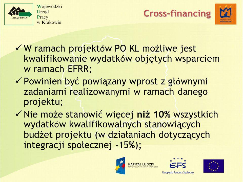 W ramach projekt ó w PO KL możliwe jest kwalifikowanie wydatk ó w objętych wsparciem w ramach EFRR; Powinien być powiązany wprost z gł ó wnymi zadaniami realizowanymi w ramach danego projektu; Nie może stanowić więcej niż 10% wszystkich wydatk ó w kwalifikowalnych stanowiących budżet projektu (w działaniach dotyczących integracji społecznej -15%); Cross-financing