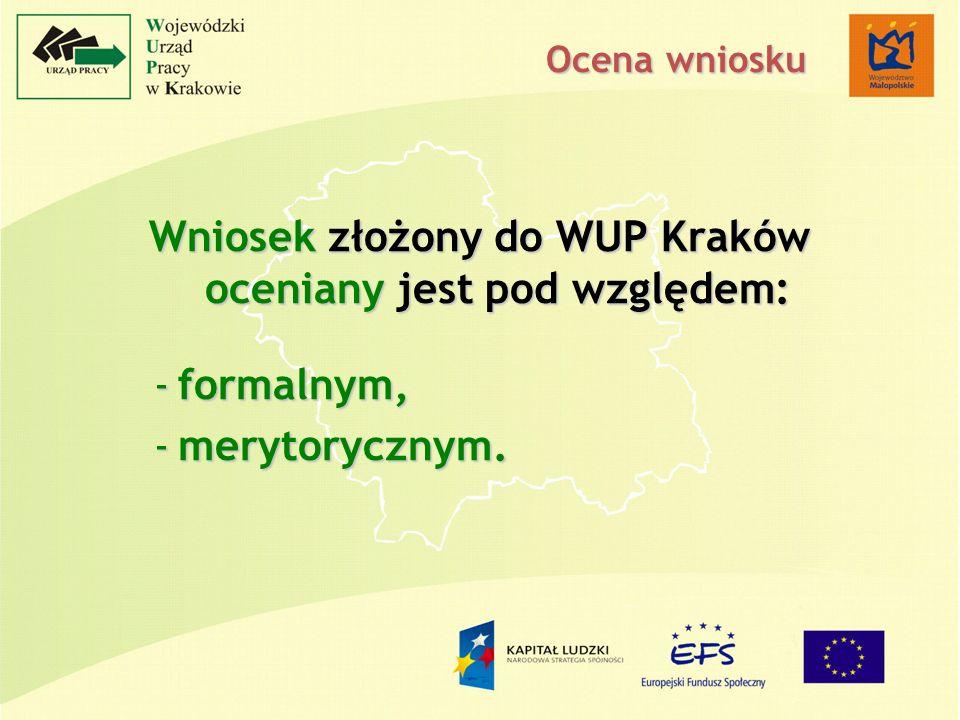 Wniosek złożony do WUP Kraków oceniany jest pod względem: -formalnym, -merytorycznym. Ocena wniosku