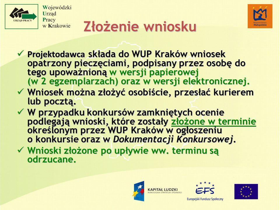 Złożenie wniosku Projektodawca składa do WUP Kraków wniosek opatrzony pieczęciami, podpisany przez osobę do tego upoważnioną w wersji papierowej (w 2 egzemplarzach) oraz w wersji elektronicznej.