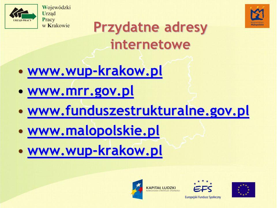 Przydatne adresy internetowe www.wup-krakow.plwww.wup-krakow.plwww.wup-krakow.pl www.mrr.gov.plwww.mrr.gov.plwww.mrr.gov.pl www.funduszestrukturalne.gov.plwww.funduszestrukturalne.gov.plwww.funduszestrukturalne.gov.pl www.malopolskie.plwww.malopolskie.plwww.malopolskie.pl www.wup-krakow.plwww.wup-krakow.plwww.wup-krakow.pl