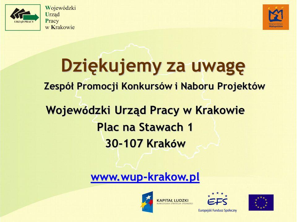 Dziękujemy za uwagę Zespół Promocji Konkursów i Naboru Projektów Wojew ó dzki Urząd Pracy w Krakowie Plac na Stawach 1 30-107 Krak ó w www.wup-krakow.pl