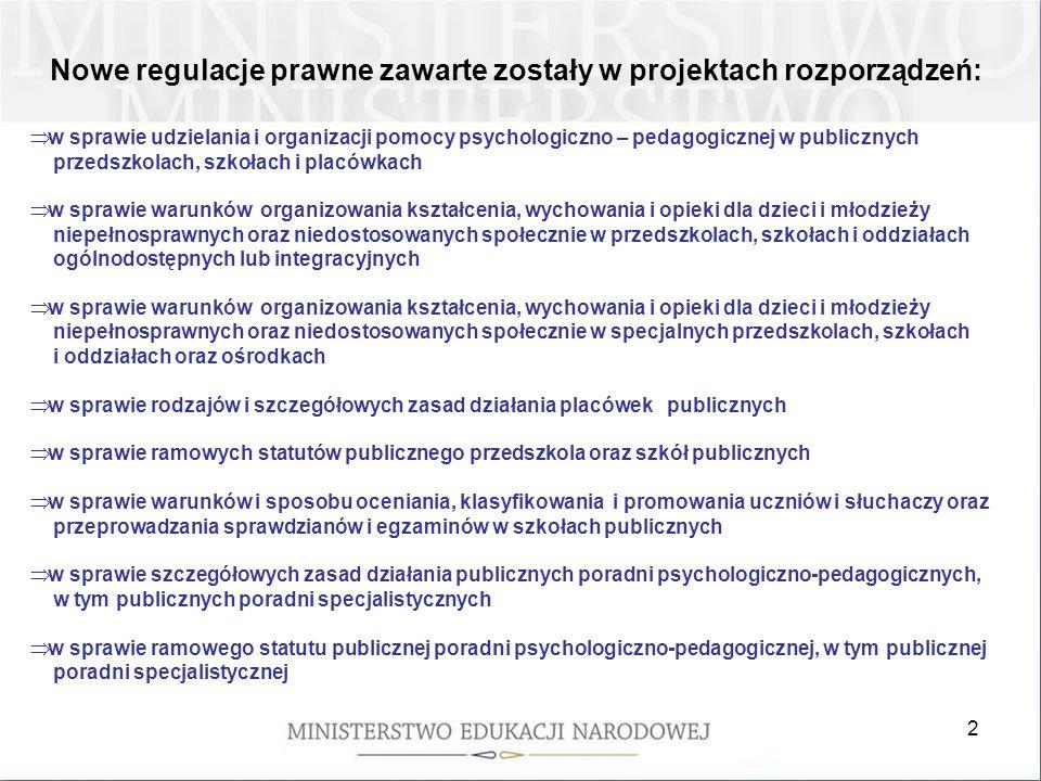 2 Nowe regulacje prawne zawarte zostały w projektach rozporządzeń: w sprawie udzielania i organizacji pomocy psychologiczno – pedagogicznej w publiczn