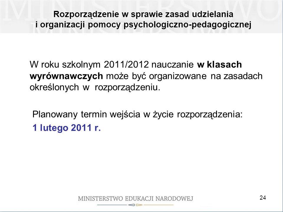 24 W roku szkolnym 2011/2012 nauczanie w klasach wyrównawczych może być organizowane na zasadach określonych w rozporządzeniu. Planowany termin wejści