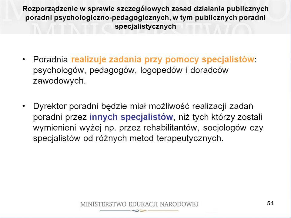 54 Rozporządzenie w sprawie szczegółowych zasad działania publicznych poradni psychologiczno-pedagogicznych, w tym publicznych poradni specjalistyczny
