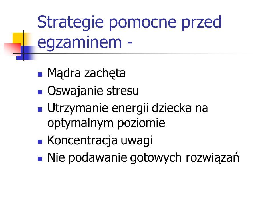 Strategie pomocne przed egzaminem - Mądra zachęta Oswajanie stresu Utrzymanie energii dziecka na optymalnym poziomie Koncentracja uwagi Nie podawanie
