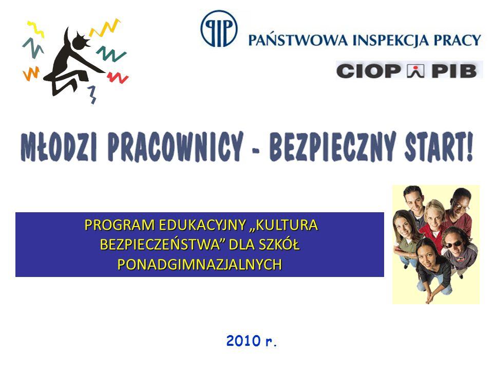 2010 r. PROGRAM EDUKACYJNY KULTURA BEZPIECZEŃSTWA DLA SZKÓŁ PONADGIMNAZJALNYCH PROGRAM EDUKACYJNY KULTURA BEZPIECZEŃSTWA DLA SZKÓŁ PONADGIMNAZJALNYCH