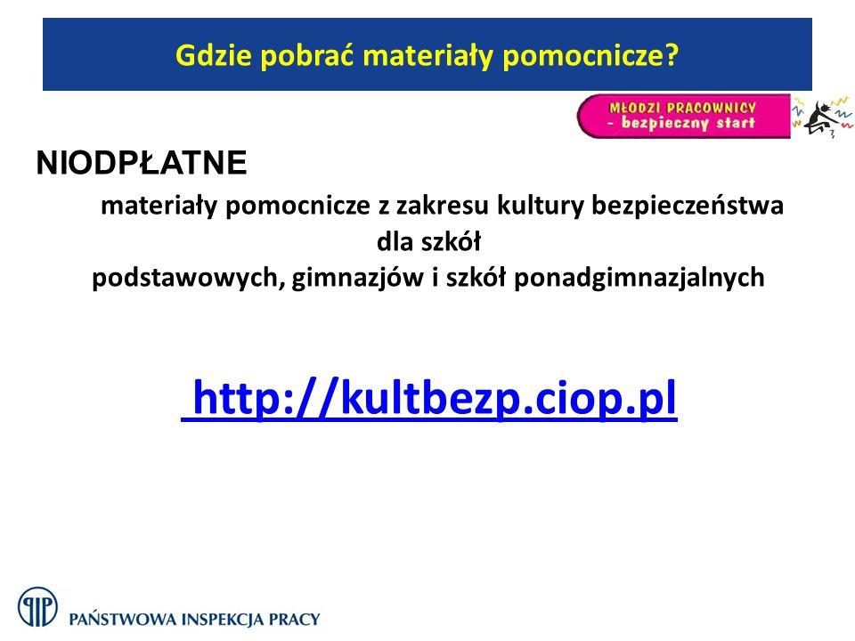 NIODPŁATNE materiały pomocnicze z zakresu kultury bezpieczeństwa dla szkół podstawowych, gimnazjów i szkół ponadgimnazjalnych http://kultbezp.ciop.pl
