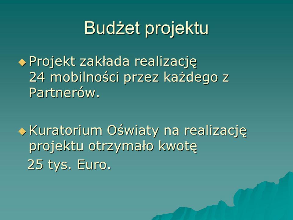 Budżet projektu Projekt zakłada realizację 24 mobilności przez każdego z Partnerów. Projekt zakłada realizację 24 mobilności przez każdego z Partnerów