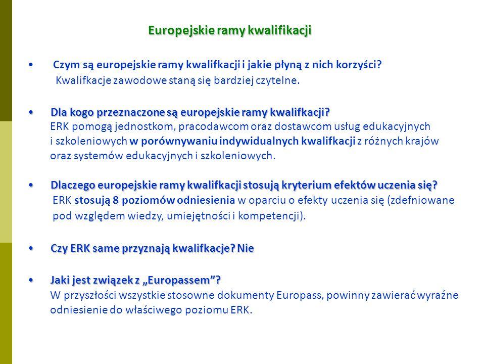 Europejskie ramy kwalifikacji Czym są europejskie ramy kwalifkacji i jakie płyną z nich korzyści.